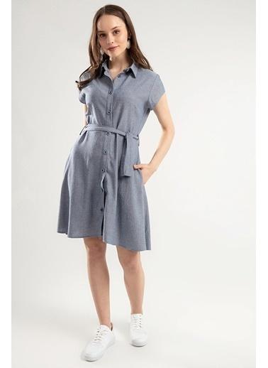 Pattaya Pattaya Kadın Kuşaklı Kısa Kollu Gömlek Elbise PTTY20S-664 Mavi